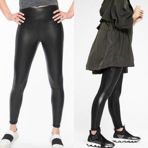 Athleta All Over Gleam Thinght Leather Leggings